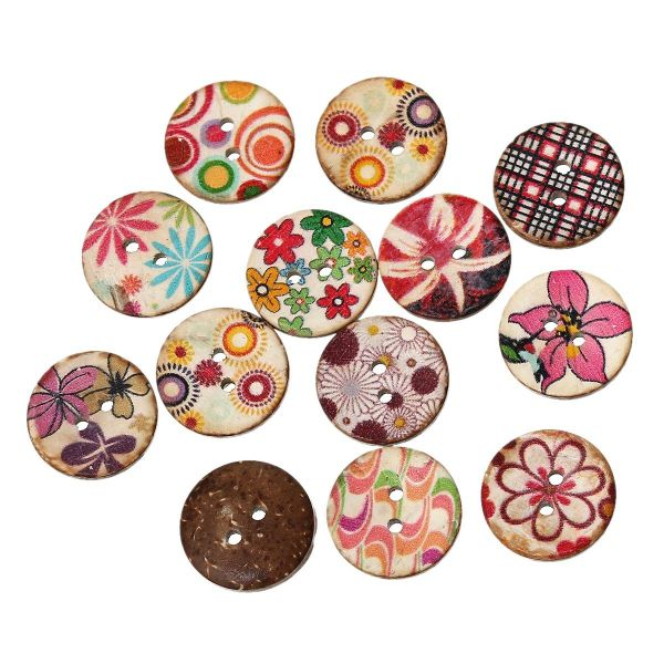 20 Painted Coconut Shell Buttons 20mm. Sewing Knitting, Handbags, Cushions, Crafts, Scrapbook,