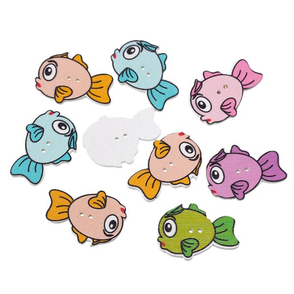 The Bead and Button Box - 10 Wooden Assorted Colour Bubble Fish Buttons 3.4cm