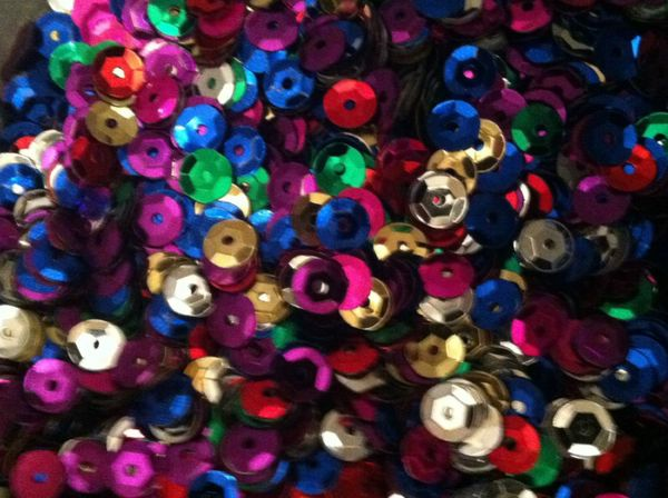 15g Mixed Rainbow Cupped Sequins 6-7mm, Red, Blue, Purple, Gold, Silver, Pink, Green