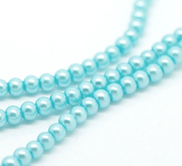 400 Pale Blue Glass Pearl Beads 4mm. Jewellery making, sewing.