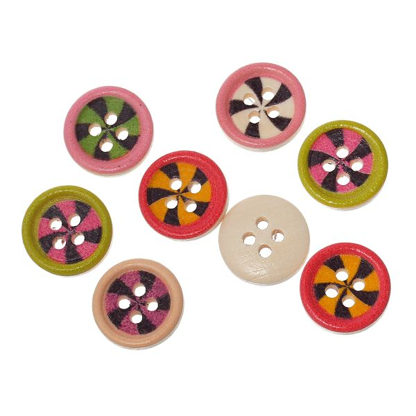 The Bead and Button Box - 25 Assorted Coloured Windmill Design Wood Buttons 15mm