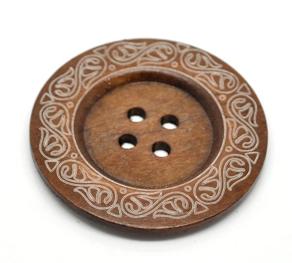 The Bead and Button Box -3 Extra Large Rich Brown Carved Pattern Wooden Buttons 60mm 6cm, Great For furnishings, handbags, large Cusions, Coats, oversized