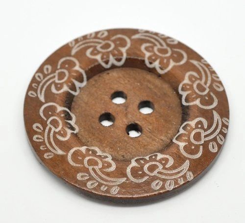 The Bead and Button Box - Large Boho Design Rich Coffee Coloured Cloud Design Wooden Buttons 60mm Suitable for handbags, Sweaters, Overcoats