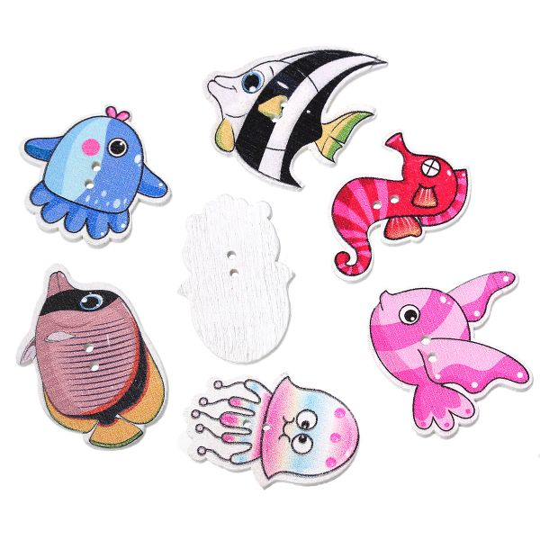 10 Wooden Assorted Sea Creature Buttons