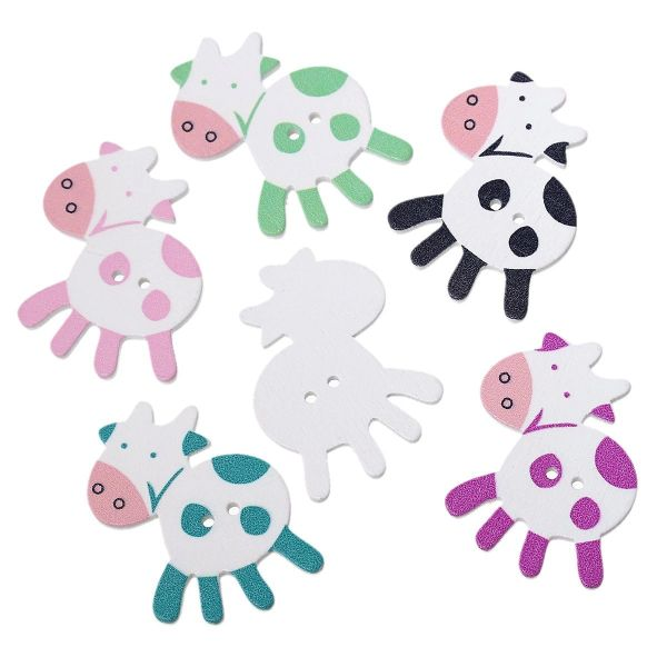 The Bead and Button Box - 10 Novelty Wooden Sewing Buttons. Large Cows. Random Mix of Colours. 39 x 35mm. Ideal for scrapbook, crafts, childrens wear, decoration