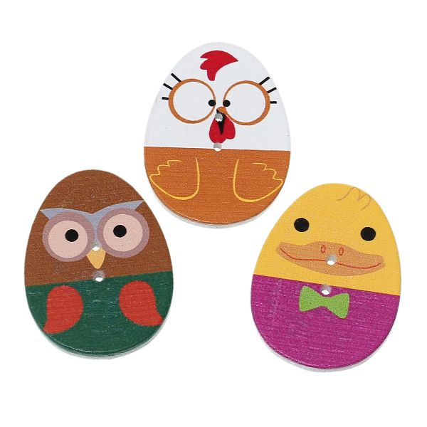 "The Bead and Button Box - Large Bright Egg Shaped Wood Sewing Buttons. 3.1cm(1 2/8"") x 24.0mm(1""). Mix of colours in pack."