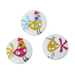 20 Round Sewing Buttons, Wooden with a Chicken Design 20mm. Various Colours. Ideal for Sewing, Embellishment, card making, scrapbook and other Crafts. Shabby Chic.