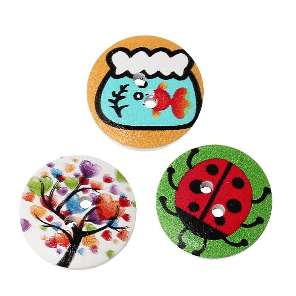 20 Round Sewing Buttons, Wooden with Assorted Nature Designs 20mm. Various Colours. Ideal for Sewing, Embellishment, card making, scrapbook and other Crafts. Shabby Chic.