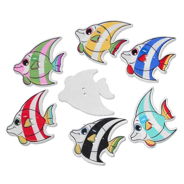 The Bead and Button Box -6 Assorted Wooden Angel Fish Buttons 3.1cm