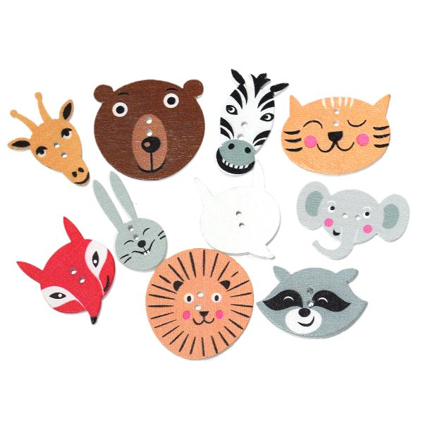 The Bead and Button Box - Assorted Large Animal Wooden Buttons