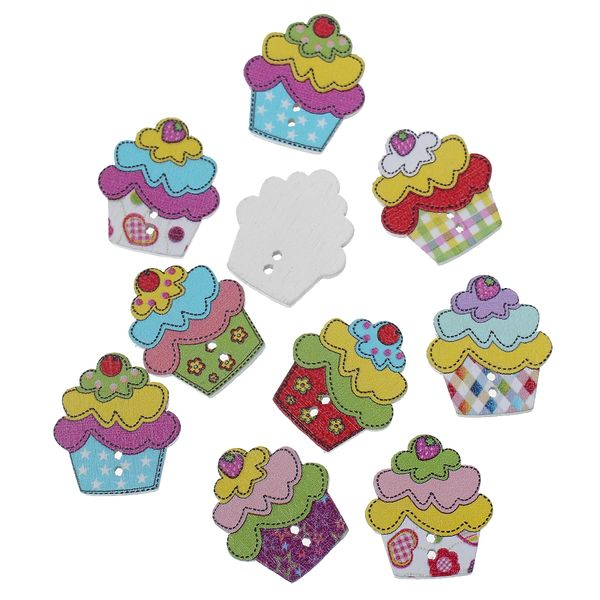 "10 Wooden Buttons, Mixed Colour Cup Cakes, 2 Hole, Craft, Scrapbook, Sewing, Cardmaking, Embellishments, 25.0mm(1"") x 22.0mm(7/8"")"