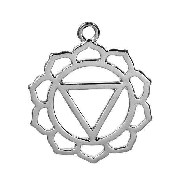 2 Silver Tone Chakra Pendant - Nabhi /Manipura (Solar Chakra) 3.1cm