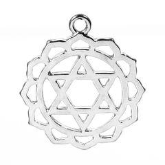 2 Silver Tone Chakra Pendants - Anahata (Heart Chakra) 3.1cm