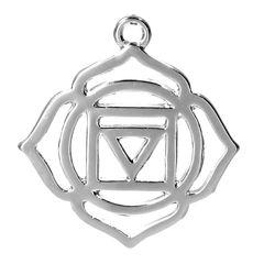 2 Silver Tone Chakra Pendant - Muladhara /Mooladhara (Root Chakra) 3.1cm