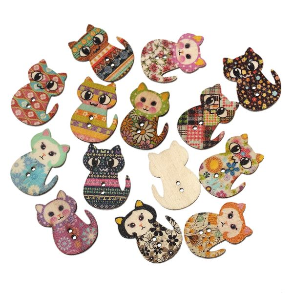 20 Assorted Wooden Cat Design Buttons 3cm