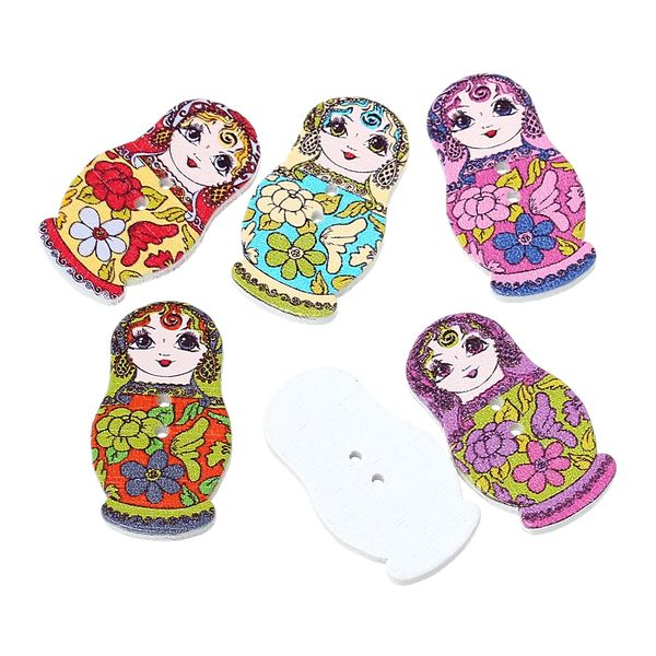 10 Wooden Fancy Russian Doll Buttons 3cm - suitable for sewing, card making, button art and lots more crafts