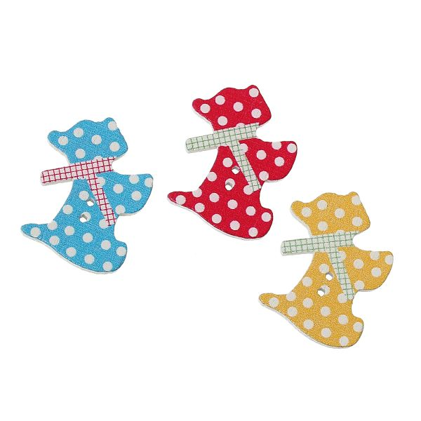 The Bead and Button Box - Wood Spooty Mixed Design Scottie Dog Sewing Craft Buttons 2.8cm