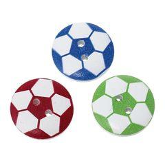 20 Wooden Football Design Football Buttons 20mm