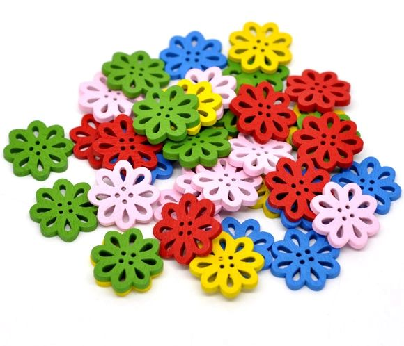20 Wooden Open Cut Flower Design Buttons 20mm
