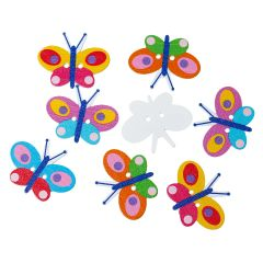 The Bead and Button Box -10 Multi coloured Butterfly Wooden Buttons 35 x 28mm