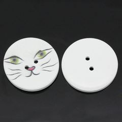 The Bead and Button Box - 5 Large Cat Face Wooden Buttons 40mm