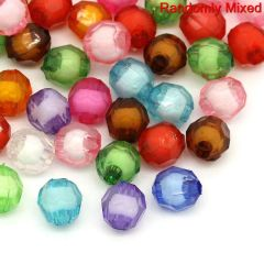 100 Faceted Acrylic Mixed Colour 8mm Beads
