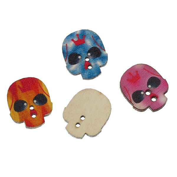 """The Bead and Button Box - Mixed Colour Wooden Scull Buttons.24.0mm(1"""") x 20.0mm( 6/8""""), Ideal for sewing, scrapbooking, card making and other Craft Projects"""