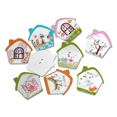 """The Bead and Button Box - Mixed Colour Wooden House, Home Buttons.26.0mm(1"""") x 26.0mm(1""""),, Ideal for sewing, scrapbooking, card making and other Craft Projects"""