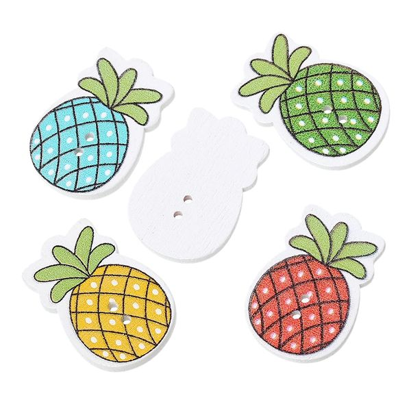 The Bead and Button Box - Mixed Colour Wooden Pineapple Fruit Design Buttons. 3.0cm x 21.0mm. Ideal for sewing, scrapbooking, card making and other craft projects