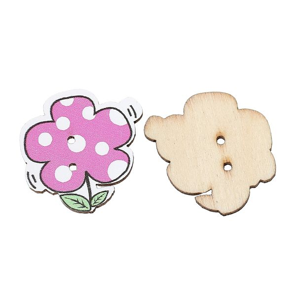 The Bead and Button Box - Fuchsia Colour Wooden Flower Design Buttons. 27.0mm x 27.0mm. Ideal for sewing, scrapbooking, card making and other craft projects