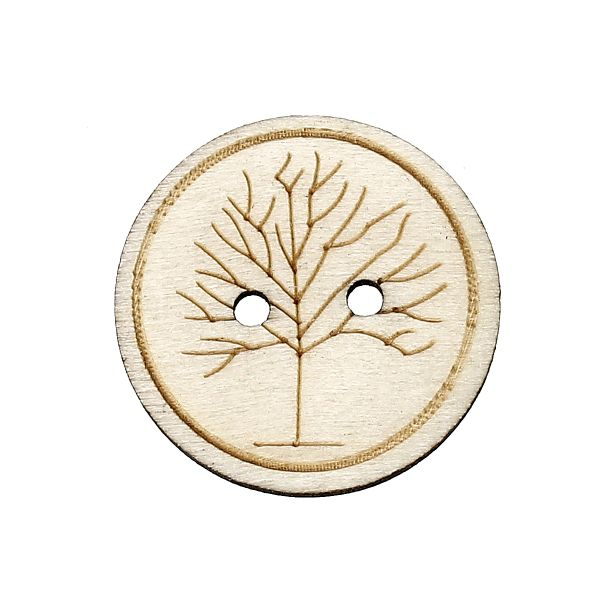 The Bead and Button Box - Wooden Winter Tree design Buttons 25mm. Ideal for sewing, card making,scrapbooks and other Craft Projects