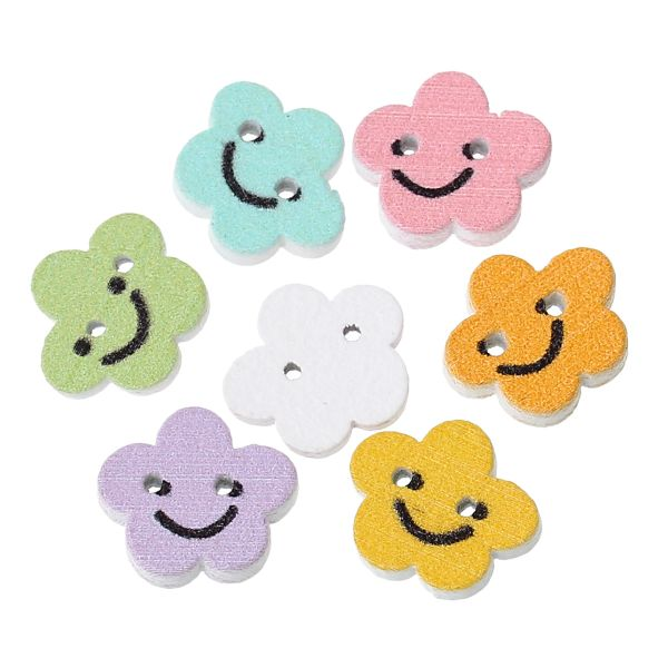 20 Wooden Tiny Smiling Flower design Buttons 13mm. Ideal for sewing, card making,scrapbooks and other Craft Projects