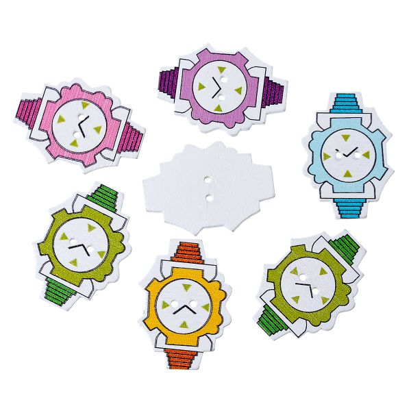 "The Bead and Button Box - Mixed Colour Wooden Wrist Watch, Clock Design Buttons. 35.0mm(1 3/8"") x 25.0mm(1""). Ideal for sewing, knitting, scrap books, card making and other craft projects"
