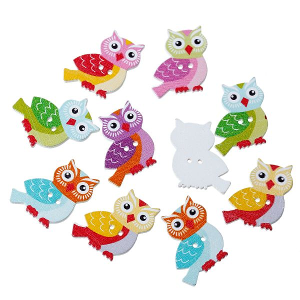 The Bead and Button Box - Assorted Colour Wooden Owl Buttons 26mm
