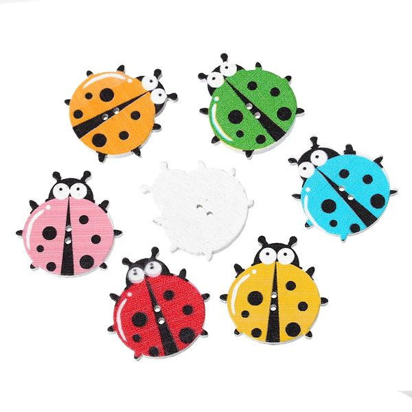 """10 Wooden Multi- colour Ladybird, bug Design Buttons 3.0cm(1 1/8"""") x 29.0mm(1 1/8""""), Ideal for sewing, knitting, scrap books, card making and other craft projects"""