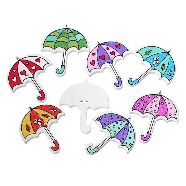 """10 Wooden Multi- colour Umbrella Design Buttons 3.5cm(1 3/8"""") x 3.0cm(1 1/8""""), Ideal for sewing, knitting, scrap books, card making and other craft projects"""