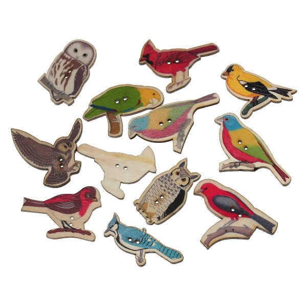 10 Wooden Multi- colour Assorted Bird Design Buttons 4.0cm-4.1cm x 19mm-25mm, Ideal for sewing, knitting, scrap books, card making and other craft projects