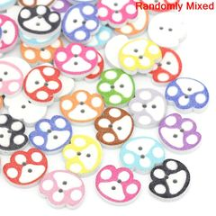 "The Bead and Button Box - 10 Animal Pawprint Wooden Buttons, 14.0mm( 4/8"") x 16.0mm( 5/8""). Cat, Dog, Bear. Lion etc. Ideal for sewing, knitting, card making, scrap book and other craft projects."
