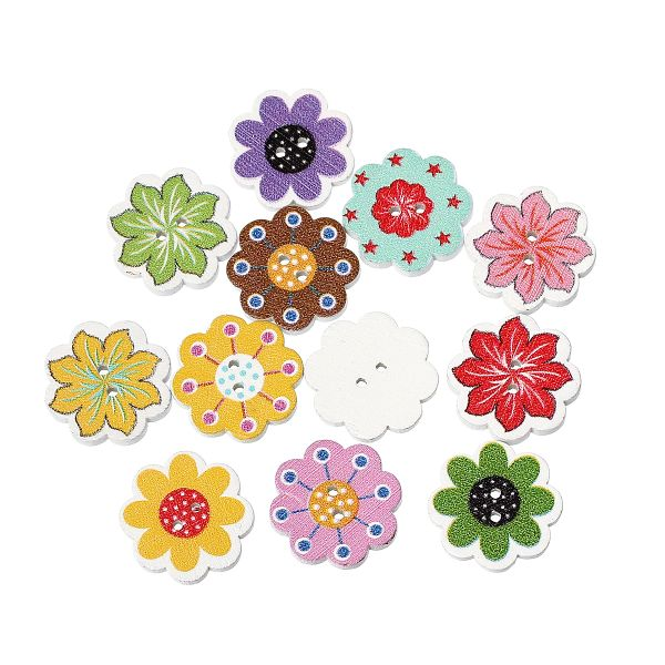 The Bead and Button Box - 10 Wooden Buttons, 20mm, Mixed Flower and Colours. Ideal for sewing, knitting, card making, scrapbooking and other craft projects