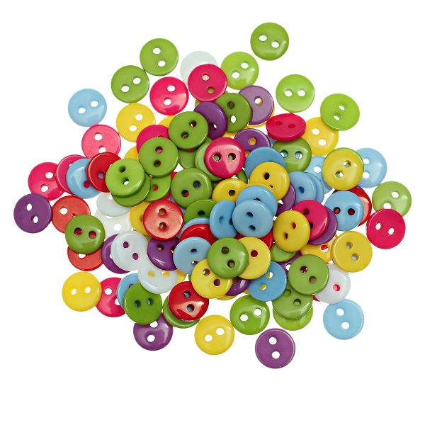 The Bead and Button Box - 100 Tiny Resin Buttons, 9mm, Mixed Colours. Ideal for sewing, knitting, card making, scrapbooking and other craft projects