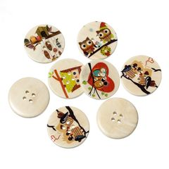 The Bead and Button Box - 10 Assorted Colourful Wooden Owl Design Buttons, 30mm. 3cm