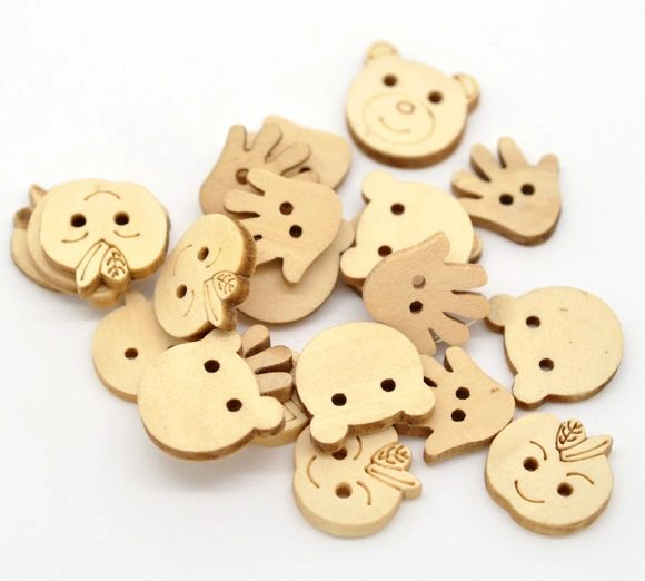 The Bead and Button Box - 25g Mixed untreated wooden Buttons. Ideal for Embellishment, card making, scrapbook, sewing and other Crafts. Can be painted, coloured, varnished etc. Shabby Chic