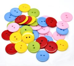 The Bead and Button Box - 25 Assorted Resin Buttons 23mm. Ideal for sewing, scrap booking, card making, jewellery, and other craft projects