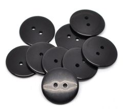 The Bead and Button Box - 25 Black Resin Buttons 23mm. Ideal for sewing, scrap booking, card making, jewellery, and other craft projects