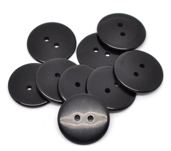 The Bead and Button Box -10 Black Resin Buttons 23mm. Ideal for sewing, scrap booking, card making, jewellery, and other craft projects