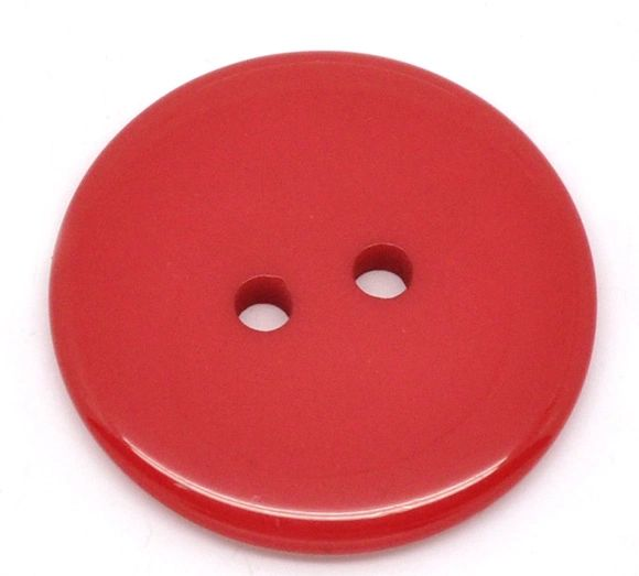 The Bead and Button Box - 10 Red Resin Buttons 23mm. Ideal for sewing, scrap booking, card making, jewellery, and other craft projects