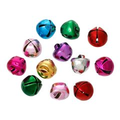The Bead and Button Box - 10 Coloured Jingle Bells, 8mm. Ideal for Christmas decoration, card making, jewellery, scrap booking, and other craft embellishment.