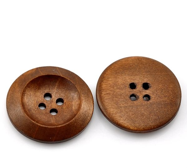 The Bead and Button Box - 10 Wooden Classic Chestnut Colour Sewing Buttons 30mm, 3cm. Great for Sewing, Knitting, Scrapbook and other Craft Projects