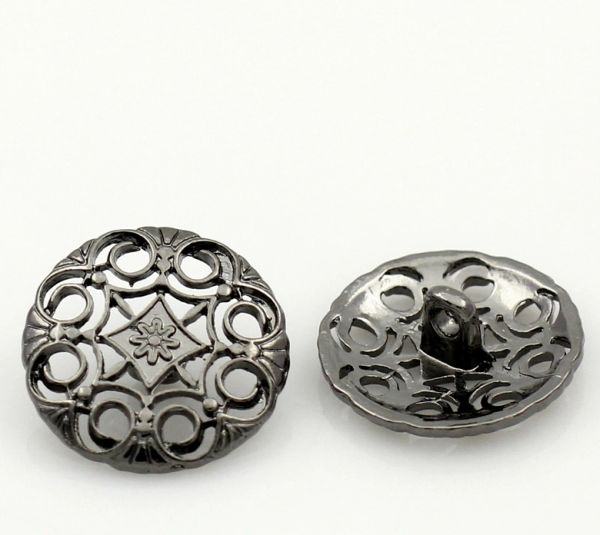 The Bead and Button Box - 6 Metal Filigree Dark Silver tone Buttons. 18mm Ideal for sewing, knitting, Crochet, Crafts and other projects