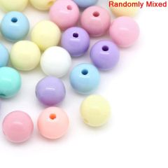 The Bead and Button Box - 250 Acrylic pastel shade round beads. 6mm. Ideal for jewellery making and other craft projects